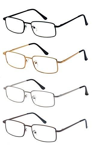 ALWAYSUV 4 Pack Rectangular Full Frame Readers Reading Glasses Unisex 1.75 by ALWAYSUV