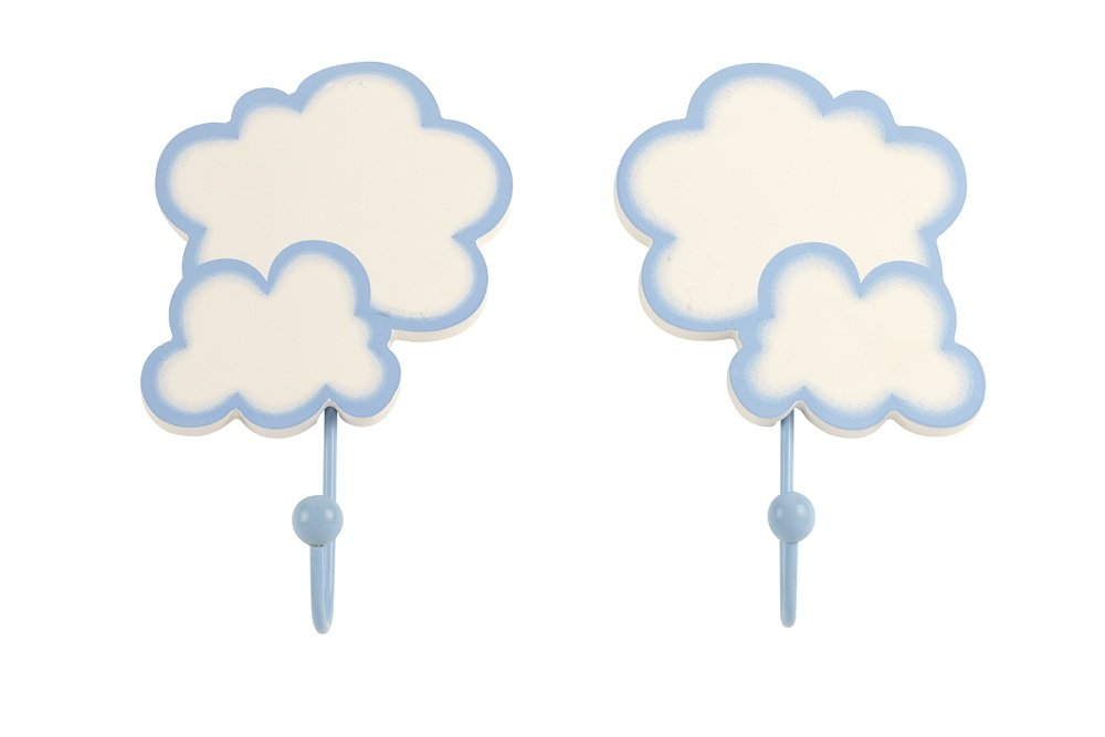 NoJo Wall Hooks, Cloud, 2 Count