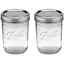 Ball Jar with Lid and Band - Pick Your Size and Color (Clear, Wide Mouth Pint - 16 oz.) Pack Of 2
