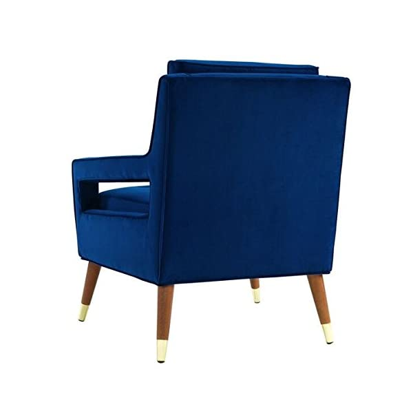 TOV Furniture The Draper Collection Contemporary Style Velvet Upholstered Button Tufted Living Room Parlor Chair, Navy