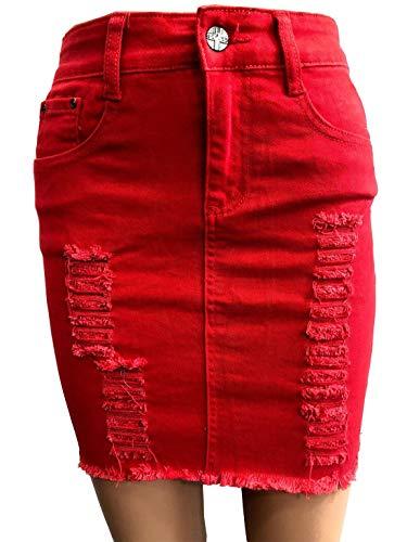 Islander Fashions - Jupe en Jean dchire et dchire dchire pour Femme EU 34-46 Red