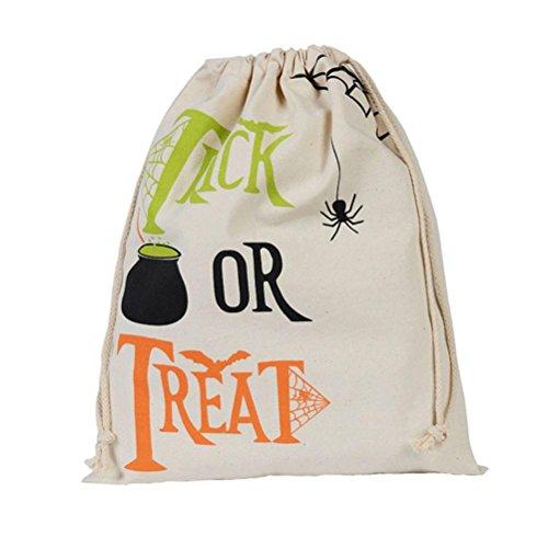 Charberry Halloween Candy Bag Gift Bag Bundle Pocket Drawstring Storage Bag Travel Bag (D)