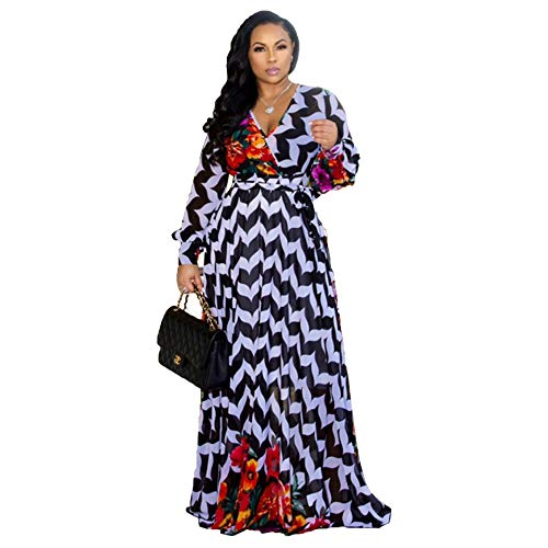 Nuofengkudu Womens Sheer Summer Boho V-Neck Printed Floral Maxi Dress Long Sleeve Dresses Slim Waisted Plus (Blackstripe) L