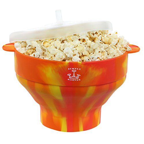Simply Klever Microwave Popcorn Popper, Silicone Popcorn Maker, Collapsible Bowl BPA Free Orange Yellow Red the design is unique to you, no 2 the same - THE HEALTHY LOW CALORIE ()