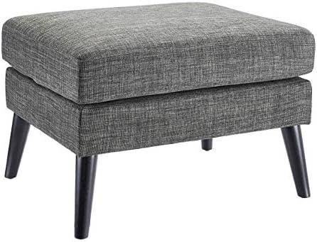 First Hill Dark Grey Textured Fabric Upholstered Pillowtop Ottoman