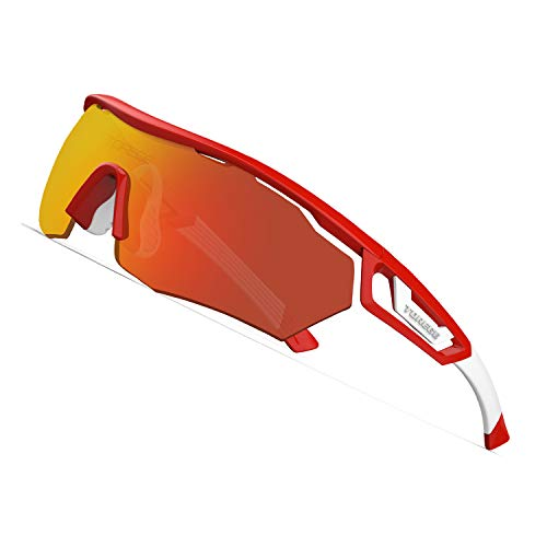 - TOREGE Polarized Sports Sunglasses with 3 Interchangeable Lenes for Men Women Cycling Running Driving Fishing Golf Baseball Glasses TR05 (Red&White&Red)