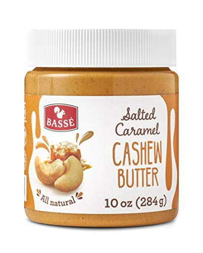 Basse All Natural Cashew Butter with Salted Caramel, Certified Gluten Free and Vegan Nut Butter, Creamy Blend of Roasted Cashews 10 Oz (1 Jars) ()