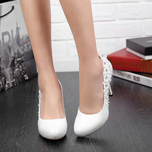 on White Shoes Slip B 10CM vaggrt Stiletto Court 6 Vaneel Women UK Round Toe Sq00v4