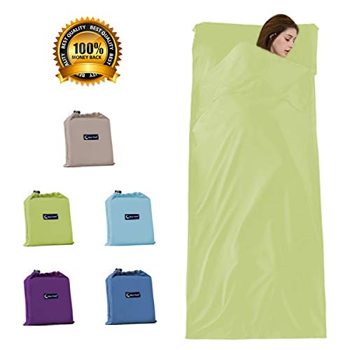(iphonepassteCK Sleeping Bag Liner Travel Camping Sheet & Sleep Sack Lightweight & Portable Perfect for Traveling Hotels Camping Backpacking (Green-S, 45.3