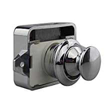 Geekercity Large Push Button Cabinet Latch for Rv/Motor Home Cupboard Caravan Lock for Cupboard Door Push Latch Lock Knob Camper Drawer (P02-CH Chrome)