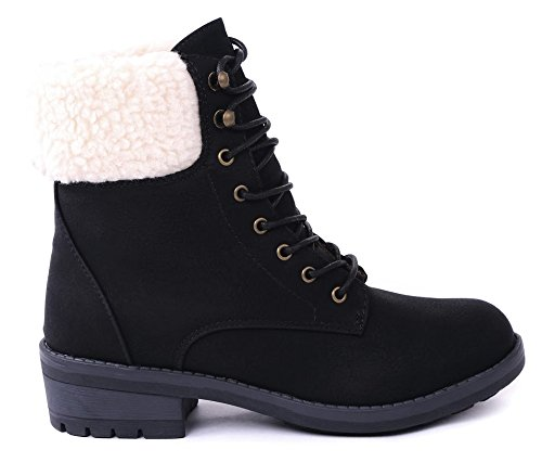 JJF Shoes Tori Black Faux Wool Fur Cuff Lace Up Nubuck Combat High Top Ankle Boots-7 (Black Lined Ankle Cuff)