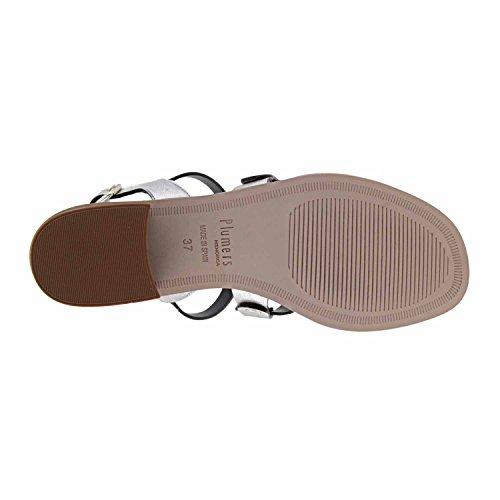 Sandalias piel metalizada Plumers BLANCO