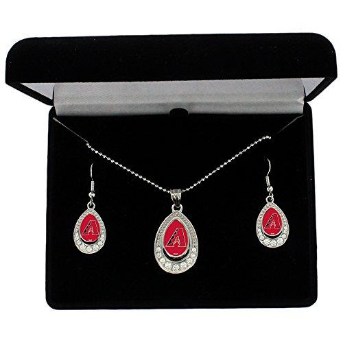 MLB Arizona Diamondbacks Women's Crystal Teardrop Necklace and Earring Gift Set by Alyssa Milano, Silver