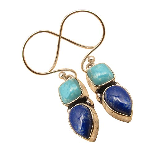 925 Sterling Silver Plated 2 GEMSTONE Handcrafted Earrings ! Made In India Online Jewelry Store