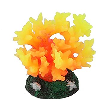 eDealMax peces de acuario tanque Artificial Waterscape Coral Planta Decoración Naranja Amarillo