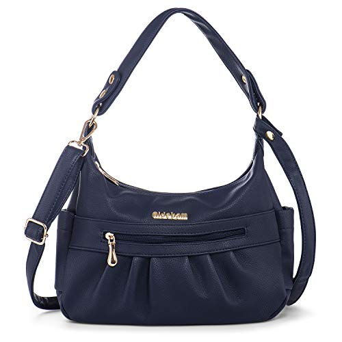 Women Shoulder Bag Vegan Leather Medium Crossbody Handbag Purse Multi Zipper Pockets Blue + Katloo Nail Clipper ()