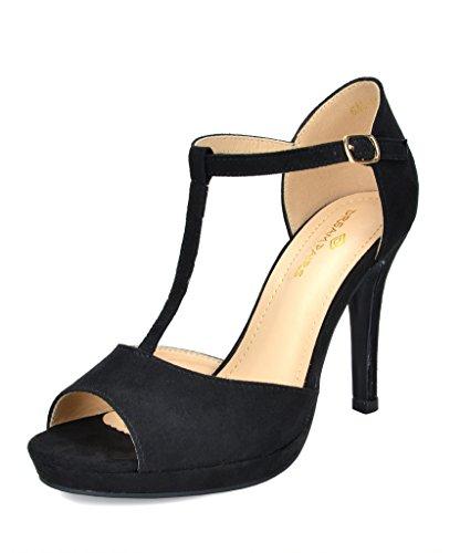 DREAM PAIRS Women's GAL_15 Black Fashion Stiletos Heeled Sandals Size 9 B(M) ()