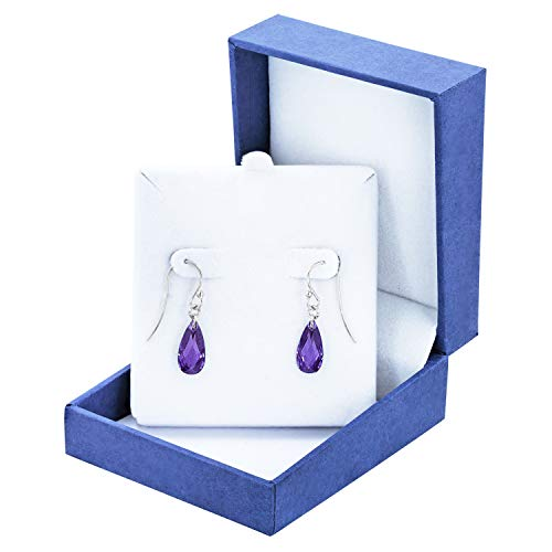 - Robert Manse Designs Gem RoManse Rhodium Plated Silver Birthstone Briolette Earrings (Purple-Cubic-Zirconia)