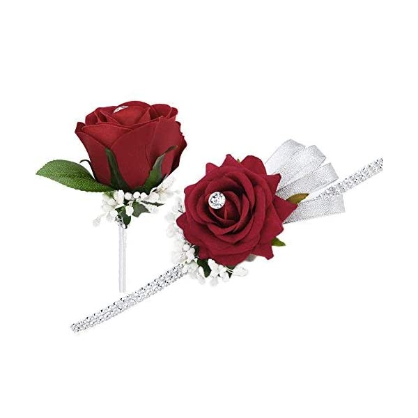 FAYBOX-Wedding-Prom-Velvet-Rose-Rhinestone-Corsage-and-Boutonniere-Set-with-Silvery-Ribbon-Stretch-Bracelet