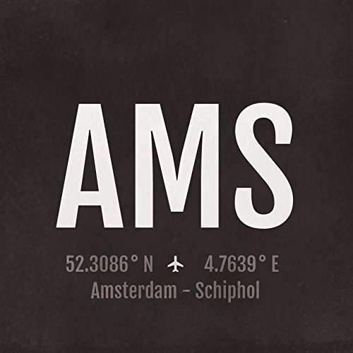 (Amsterdam Airport Code Print - AMS Aviation Art - Netherlands Airplane Nursery Poster, Wall Art, Decor, Travel Gifts, Aviation Gifts)