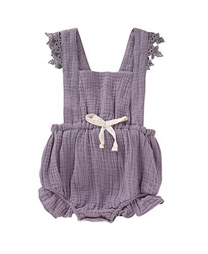 Baby Girls Jumpsuit Newborn Infant Kids Floral Clothes Summer Romper Bodysuit Sundress Outfits (6-12 Months, Purple)