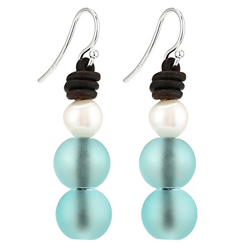 Aobei Pearl 8-8.5MM Cultured Freshwater Pearl Earring Sterling Silver with Frosted Glass Beads For Women-Dark Brown & Blue - Pearl And Glass Bead Earrings
