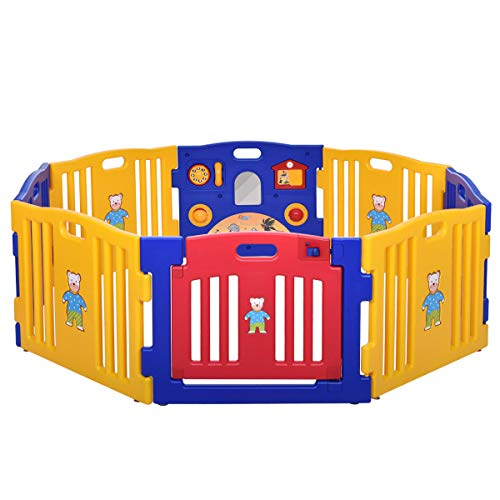 JAXPETY Baby Playpen Kids 8 Panel Safety Play Center Yard Home Indoor Outdoor New Pen (Blue and Yellow) ()
