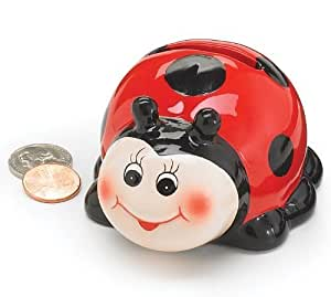 Adorable mini ceramic ladybug piggy bank for Mini piggy banks