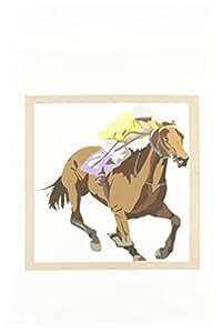 3dRose fl _ 38905_ 1Jockey a caballo jardín bandera, 12por 45,72cm