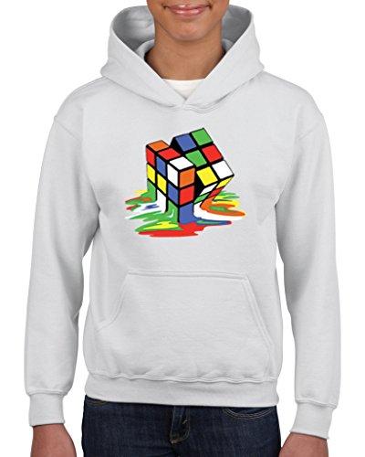Price comparison product image Artix Melting Rubik`s Cube Unisex Hoodie For Girls and Boys Youth Sweatshirt Large White