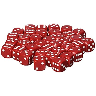 Chessex Dice d6 Sets: Opaque Red with White 12mm Six Sided Die (36) Block of Dice: Toys & Games
