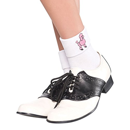Fifties Greaser Costumes (Fabulous '50s Costume Party Sock Hop Socks, White, Fabric, 1-Pair)