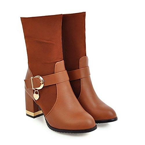 Square media uretano botas pierna AdeeSu de Amarillo Slouch Heels a Womens SXC02471 8xf17B