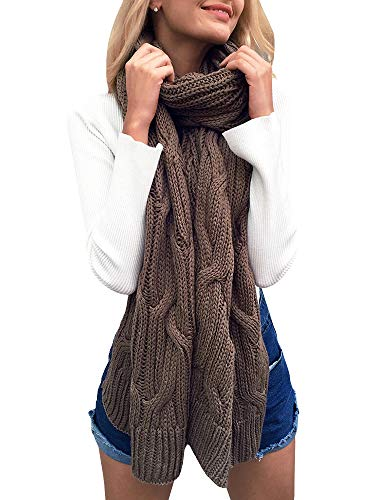 Long Scarf Cable Knit (Beautife Womens Soft Winter Knitted Scarves Cable Knit Neck Warmer Long Scarfs Shawl)