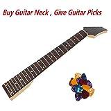 ULKEME 24Fret Square Heel Electric Guitar Neck Rosewood Fretboard Black Triangular Head+Give Guitar Picks Plectrums