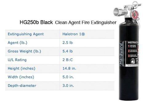 H3R Performance HG250B H3R Performance 2.5 lb HalGuard Black Clean Agent Fire Extinguisher