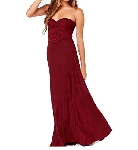 Red Wine Sexy Waist Dress Fitting Back Coolred Gown Slim Long Low Women OqRPq4