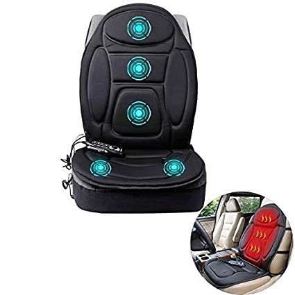 Car Heated Cushion Cooling Heating Seat Cover Massager Massage Chair Luxury Massage Seat Cushion for Waist Pain Relieve Fit for home office Universal DC 12V car Black, Single Seat
