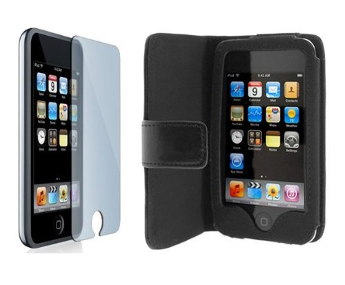 Premium Black horizontal Wallet Folio Leather Case + Screen Protector for Apple Ipod Touch Itouch 8Gb 16GB 32Gb 2G 3G 2nd 3rd - 1st Ipod Touch Generation Button