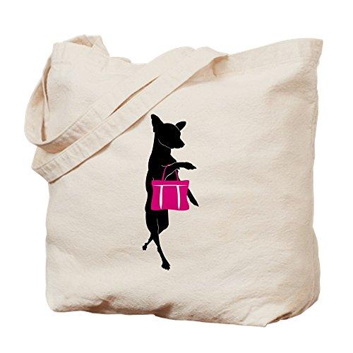 CafePress–de silueta de Chihuahua IR de compras–Gamuza de bolsa de lona bolsa, bolsa de la compra Small caqui