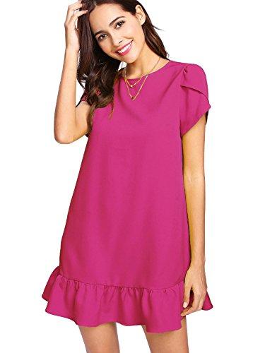 Verdusa Women's Round Neck Short Sleeve Ruffle Hem Tunic Dress Hot Pink L