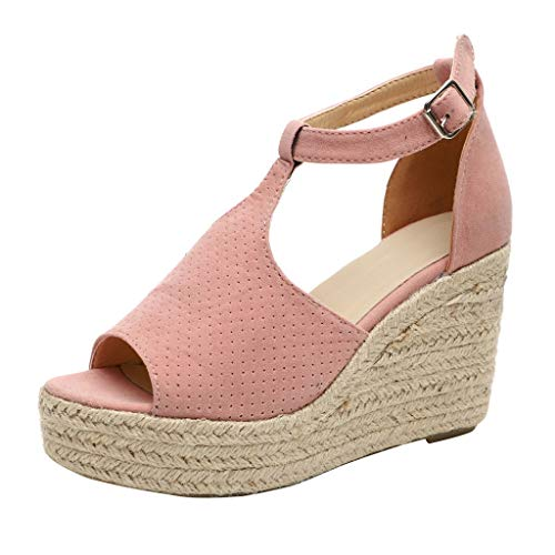 2019 New Sandals,Women's Peep Toe Perforated Ankle Strap Espadrilles Wedge Sandals by Chaofanjiancai Pink