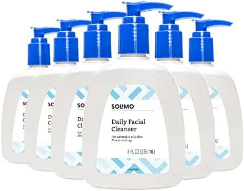 Amazon Brand - Solimo Daily Facial Cleanser for Normal to Oily Skin, 8 Fluid Ounce (Pack of 6)