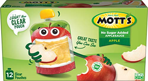 (Mott's No Sugar Added Applesauce, 3.2 Ounce Clear Pouch, 12 Count)