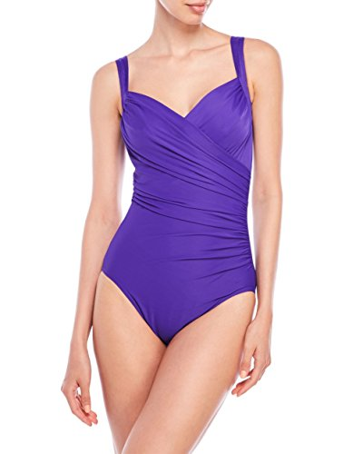Miraclesuit LOOK 10 LBS LIGHTER Women's Purple Violet Wrap One-Piece Swimsuit, Size 14 by Miraclesuit