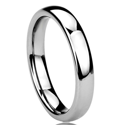 Unisex Women's 4MM Titanium Comfort Fit Wedding Band Ring High Polished Classy Domed Ring (5 to 11) - Size: (Mens Comfort Fit Titanium Ring)