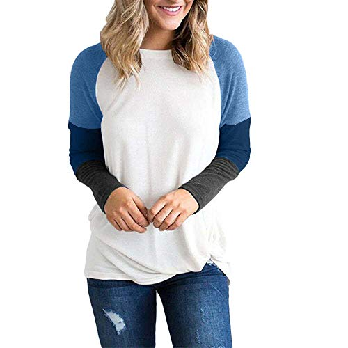 Connia Women Long Sleeve Casual Patchwork Blouse O-Neck T-Shirt Tops Sweatshirt (Blue, ()
