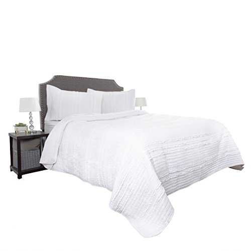 Quilt and Sham Set- Hypoallergenic 3 Piece Oversized King Quilt Bed Set with Striped Ruffle Design- Kadyn Series By Lavish Home (White)