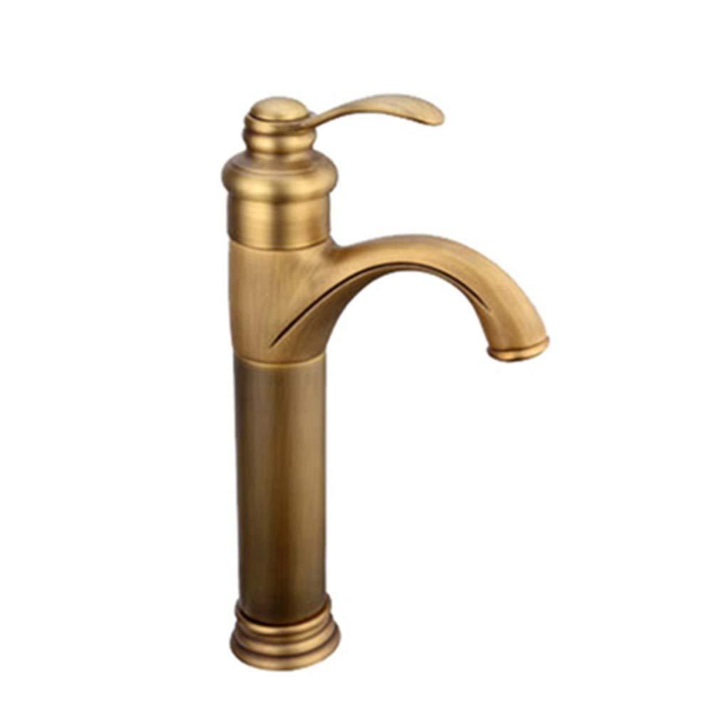AiJiaL Tap Waschtischarmaturen,Badezimmer Vollkupfer Antik Einhebelmischer Warmes Und Kaltes Wasser Einlochbecken Beckenhahn Retro