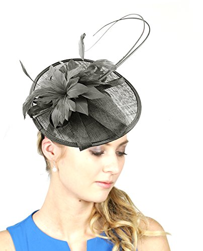 NYfashion101 Elegant Feather Floral Accent Sinamay Fascinator ()